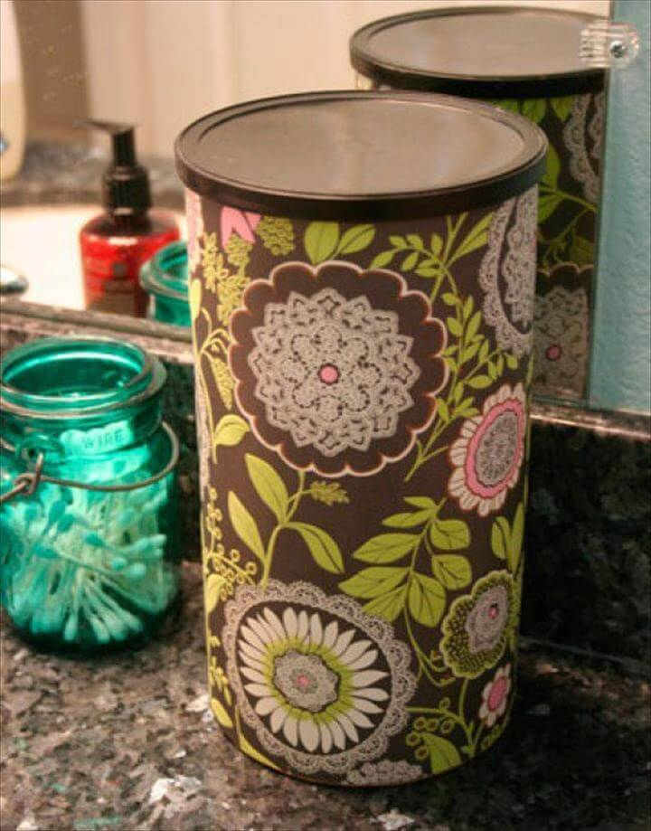 Decorate your oatmeal containers with scrapbook paper and no one will even know what they were