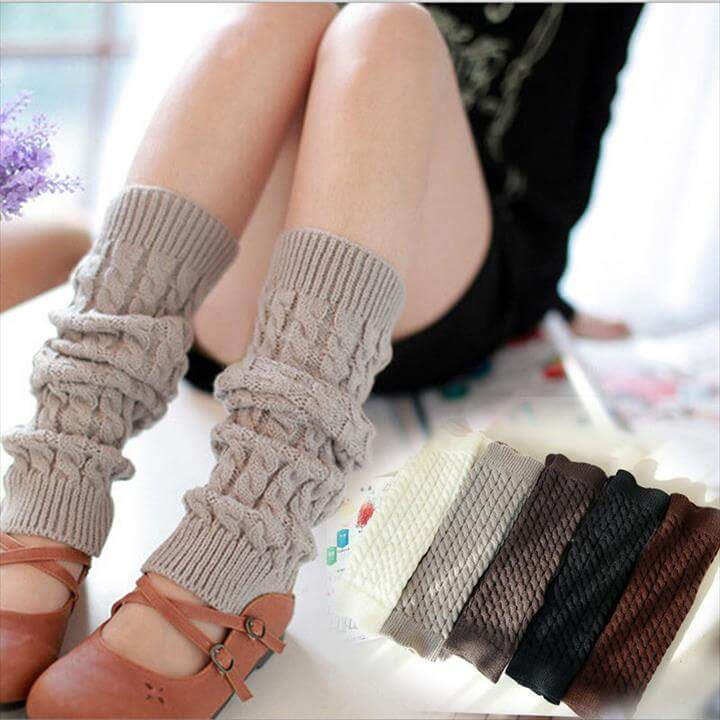 High Quality Pretty Solid Color Winter Knit Crochet Leg Warmers Leggings For Woman(China