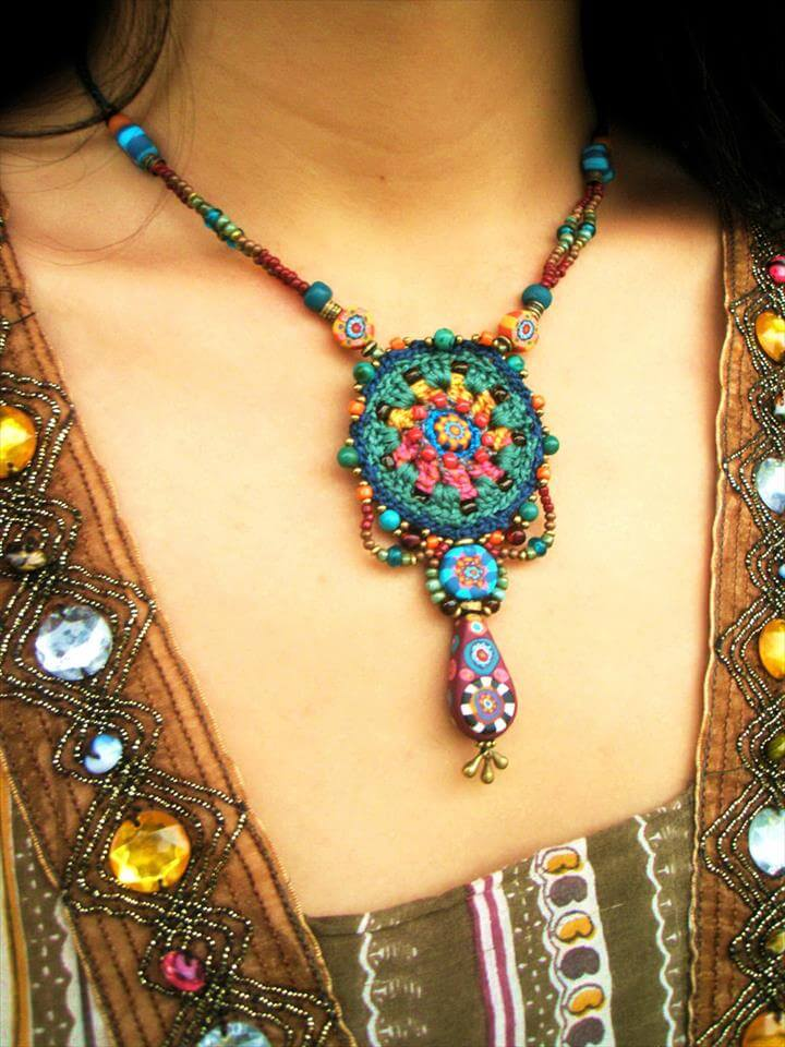crochet jewelry with handmade beads