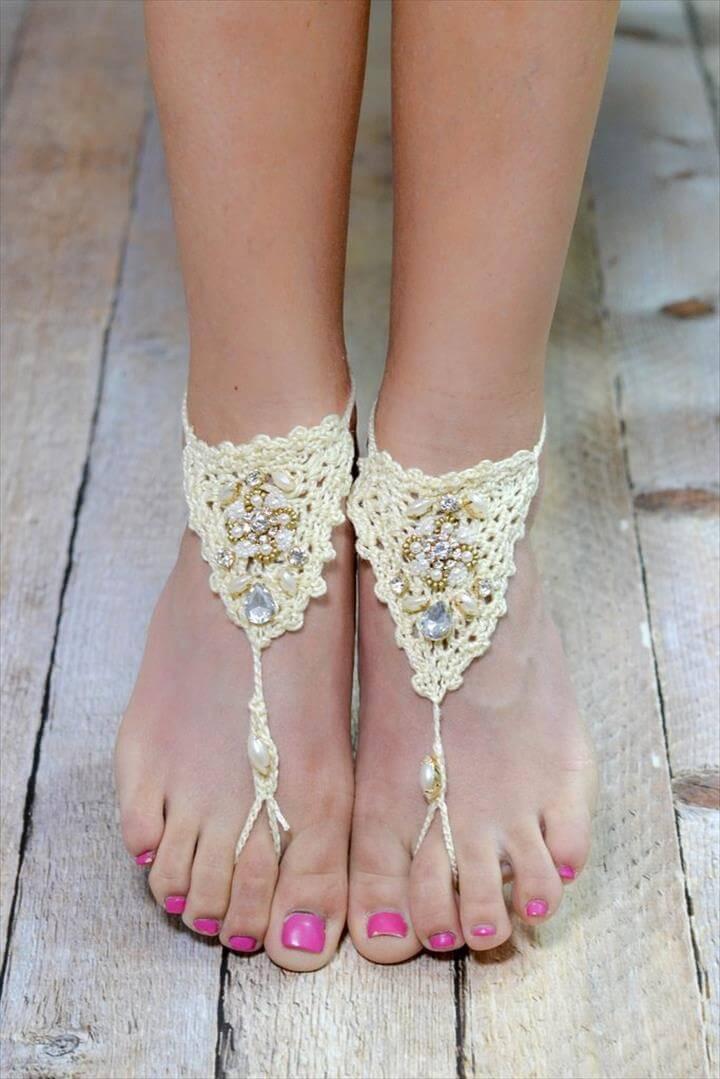 Ivory Bohemian Crochet Barefoot Sandal