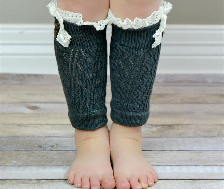 Kids Charcoal Leg Warmers with Crochet Top