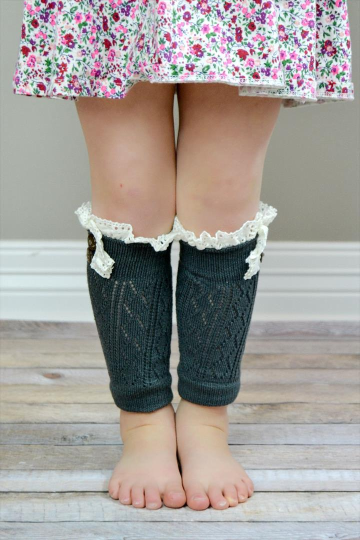 Kids Charcoal Leg Warmers with Crochet Top