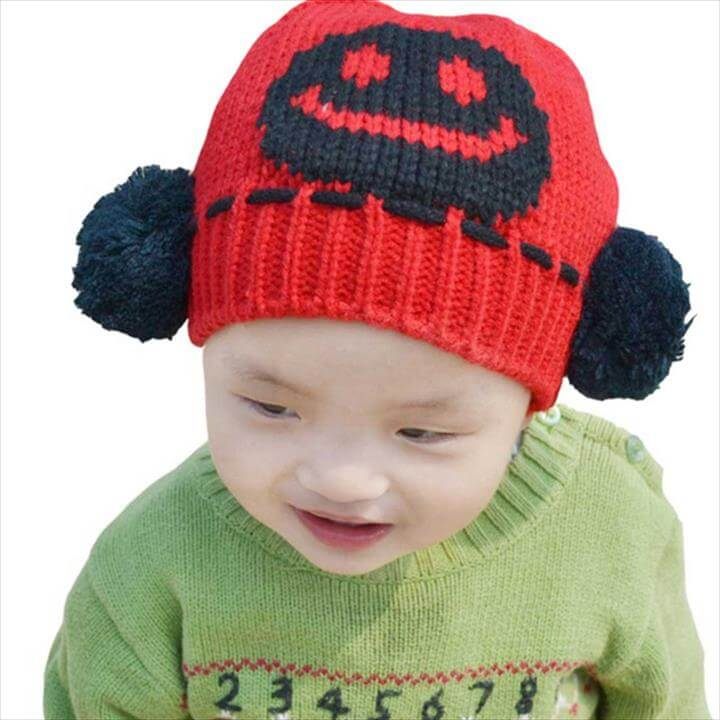 Unisex Baby Boys Girls Smile face Knit Crochet Beanie Pom Pom Hat Cap Ear Flap Earmuff