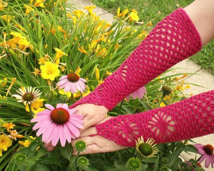 Crochet Openwork Hand Warmer, Puff Stitch Fingerless Gloves, Victorian Shell Mitts for Ladies