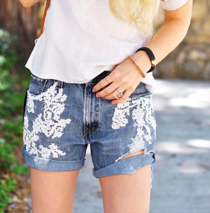 Lace Jean Shorts