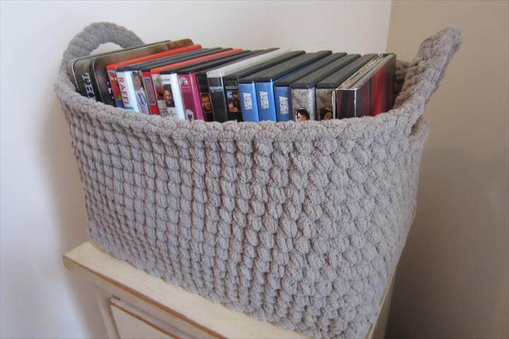 crochet book storage basket