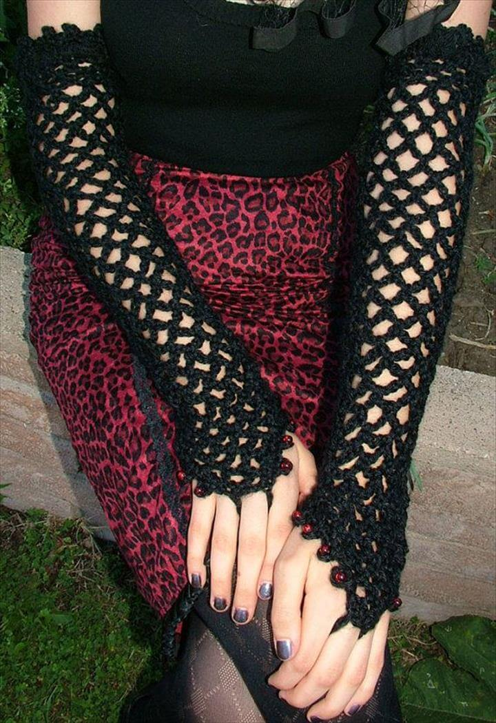 Long leather,lace,net,and crochet fingerless gloves ideas for girls
