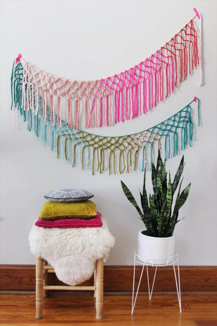 Clever DIYs Made With Yarn - Macrame Yarn Garland DIY - Yarn Crafts To Try,