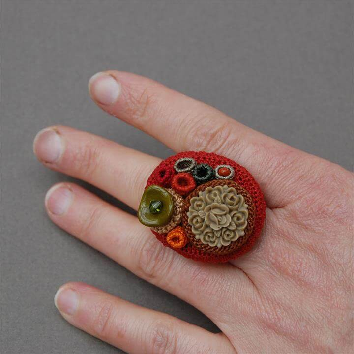 maroon color crochet ring for her collection