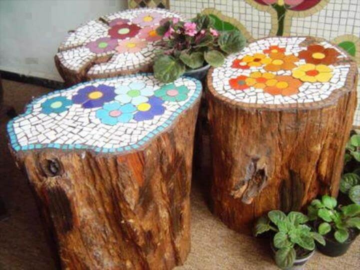 mosaic tree trunks