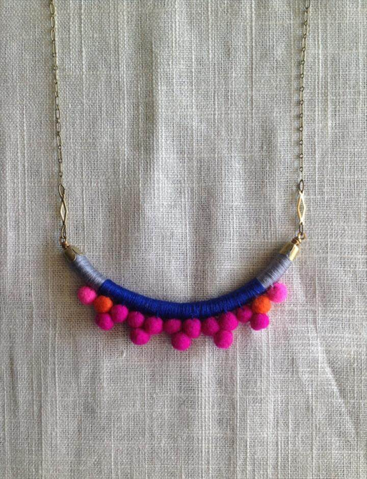 Handmade with Felted Wool Pom Poms, Cotton, Leather, and Brass