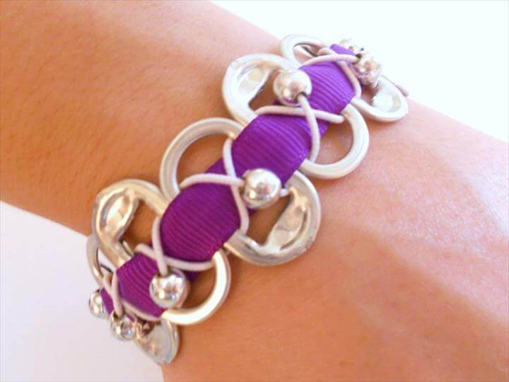 Pop Soda Can Tab Bracelet with Purple ribbon