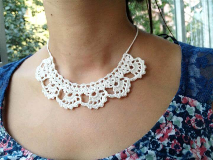 white crochet necklace