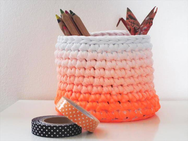 Dip Dye Orange Crochet Storage Baskets - Trendy Storage Baskets