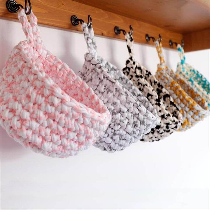 crochet storage hanging basket