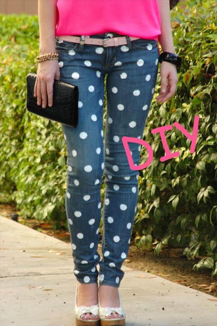 DIY polka dot jeans,DIY Dipped and Polka Dotted Flats