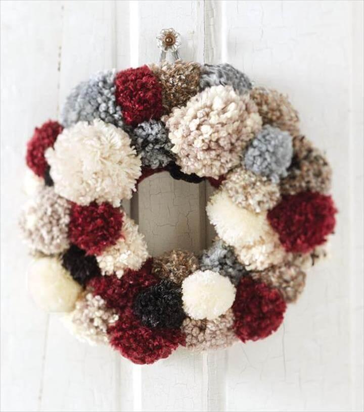 cute pom pom door wreath
