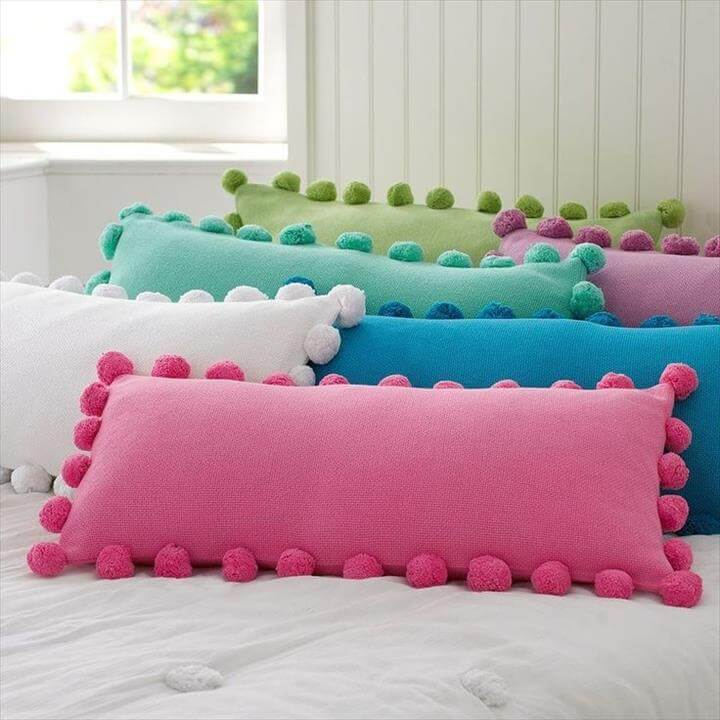 Cute Pom Pom pillow Craft Ideas .