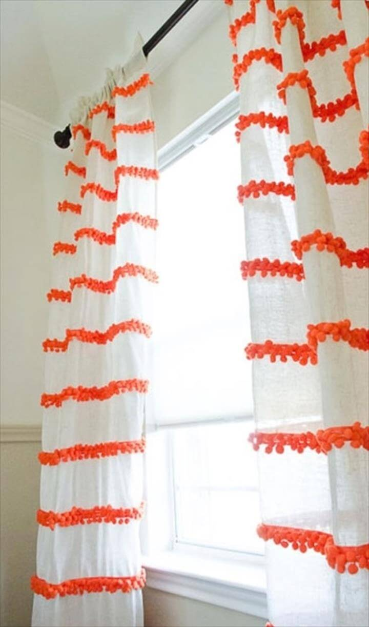 DIY Pom-Pom Trim Curtains