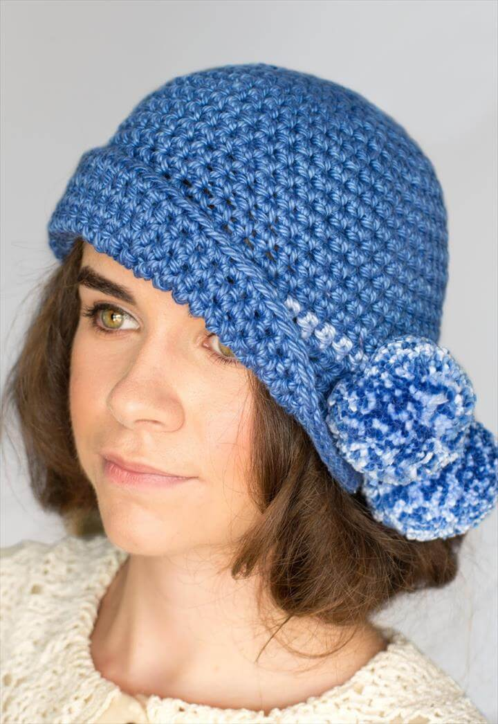 Pompom Cloche Hat Crochet Pattern