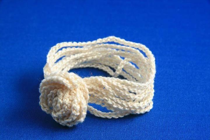 white crochet bracelet