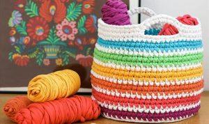 FREE Crochet pattern, rainbow storage basket