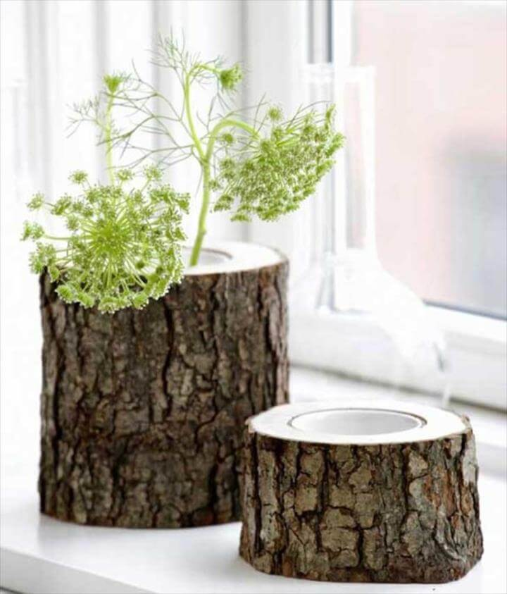 Project Ideas Log Vase Project Ideas to Recycle Tree Stumps for Home Decorating
