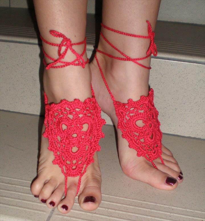 handmade red toe ring barefoot jewelry