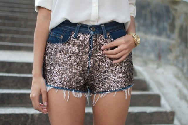 Sequin Embellished Denim Shorts