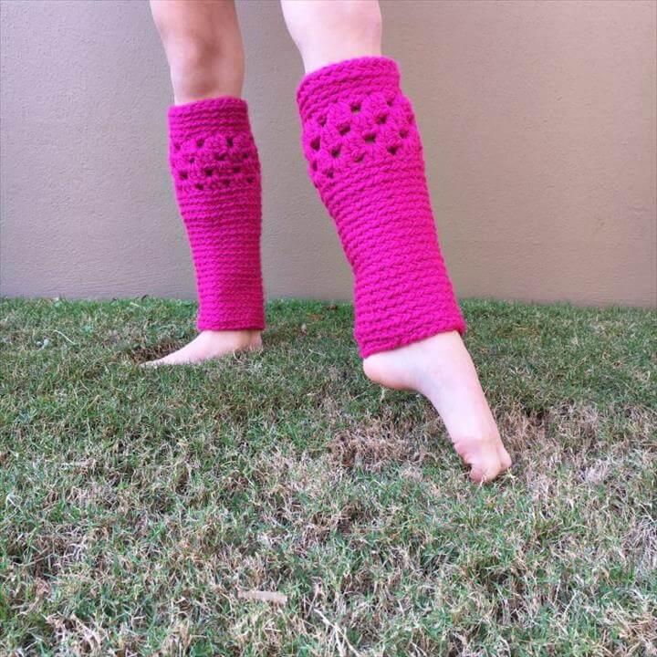 pink crochet leg warmer