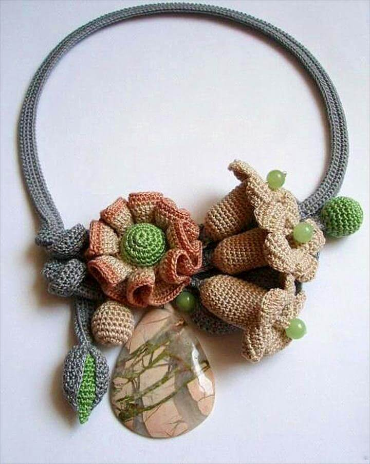 Crochet Necklace, Knitted Necklace and Textile Jewelry