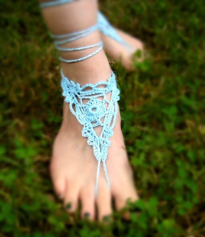 skyblue crochet barefoor sandals