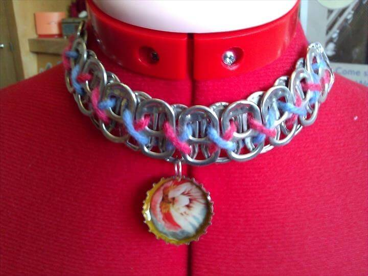 Soda Tab Necklaces With Bottle Cap Pendants · A Pop Tab Necklace · Spray Painting, Jewelry Making, and Decoupage