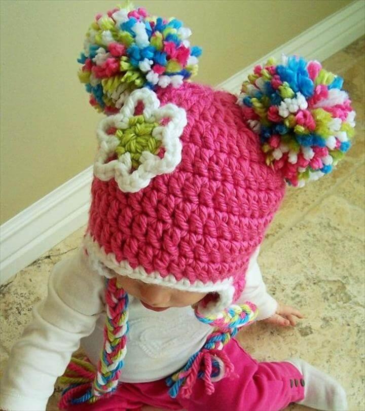 Spunky Crochet Pom Pom Beanie Hat for Babies