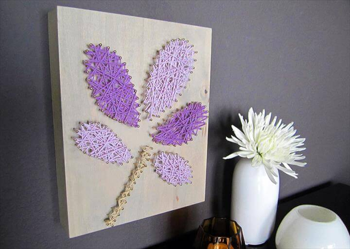 wall art from yarn and nails