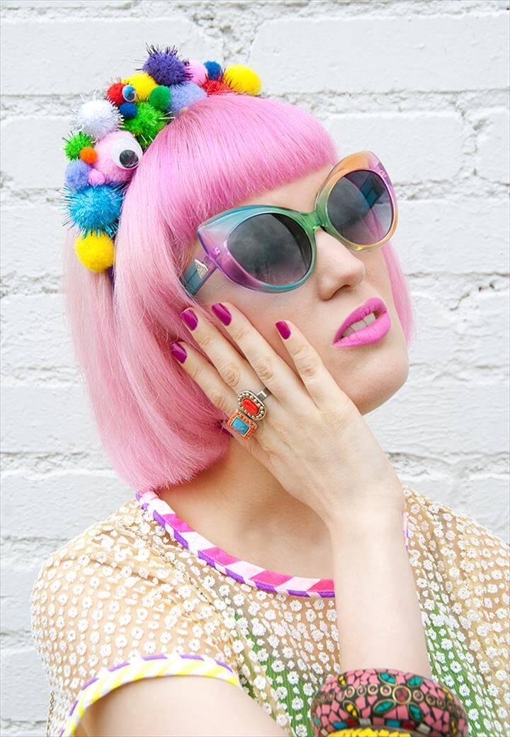 pompom headband, quirky fashion, temptress of waikiki