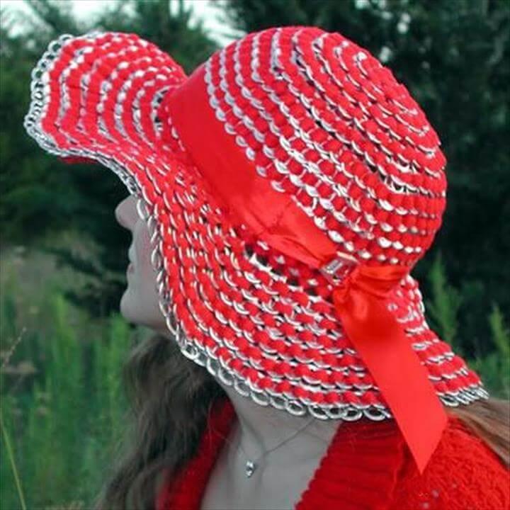 Sun hat made of can tab. After drinking soda from aluminum cans, you can