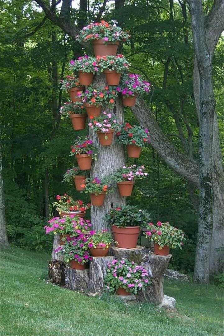 tree trunk stump garden idea