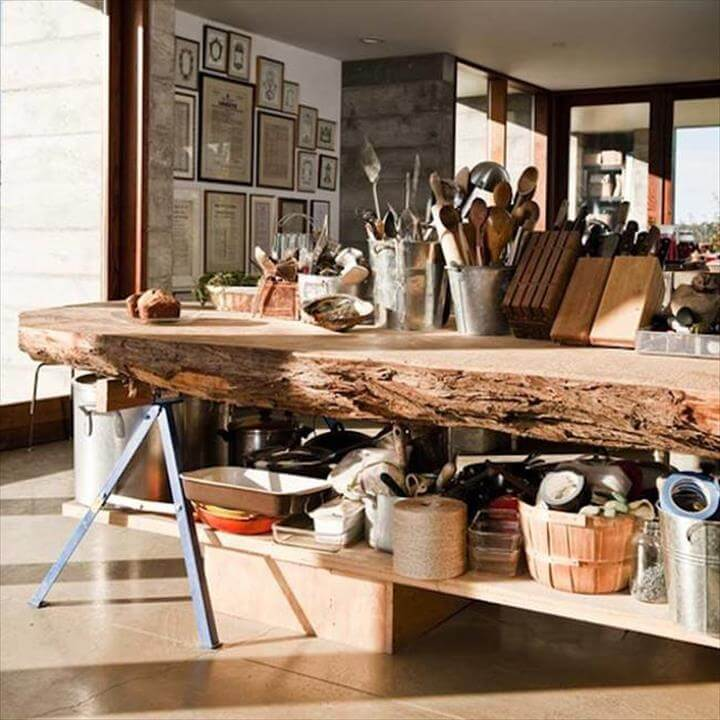 tree trunk kitchen island 45 amazing ideas with recycled tree trunks diy to make 6365
