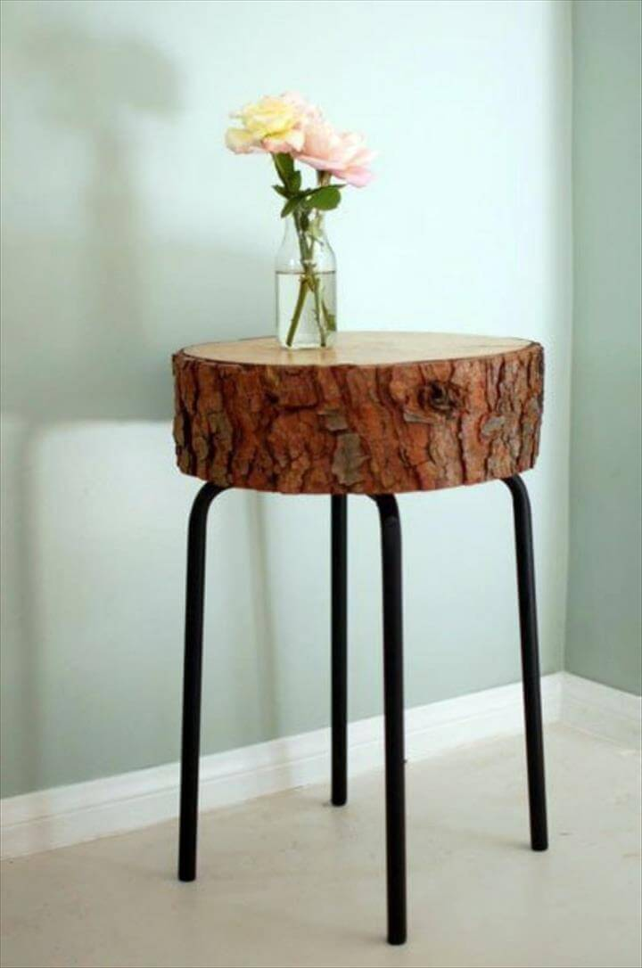 Table tree trunk - great art piece in the living room