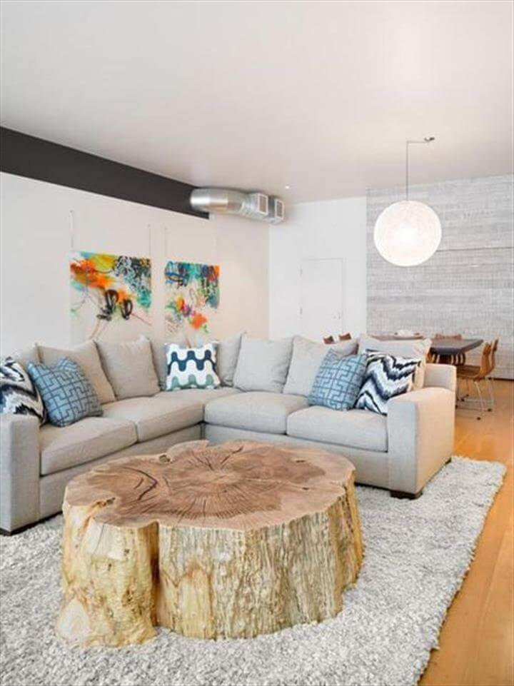 coffee table from tree trunk stump
