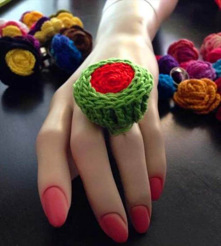 Watermelon Crochet Finger Ring