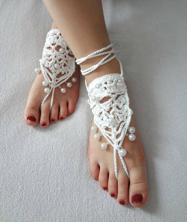 cute pearl beads crochet sandals