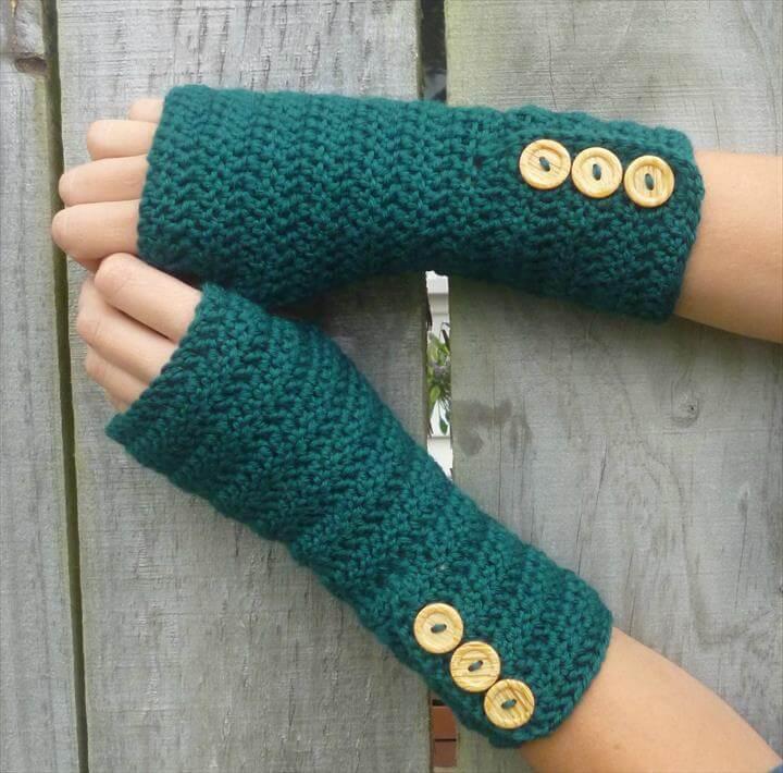GREEN Wool crochet arm warmers, fingerless gloves