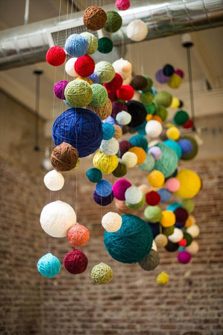 Yarn Ball Chandelier