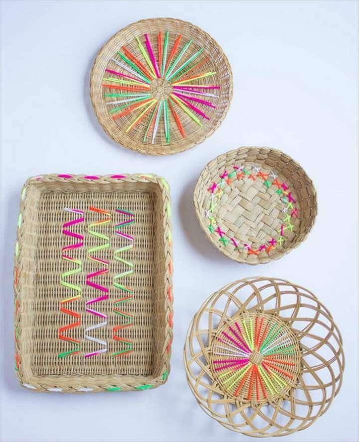 Yarn Embroidered Baskets