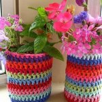 diy flower pot yarn covers
