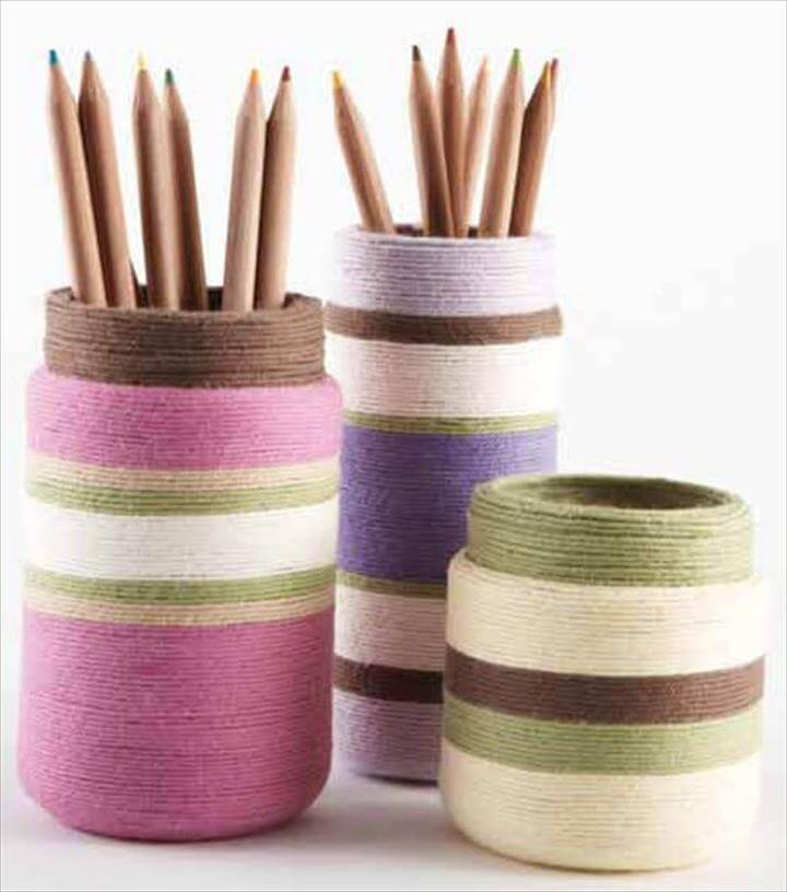 Yarn Wrapped Jar