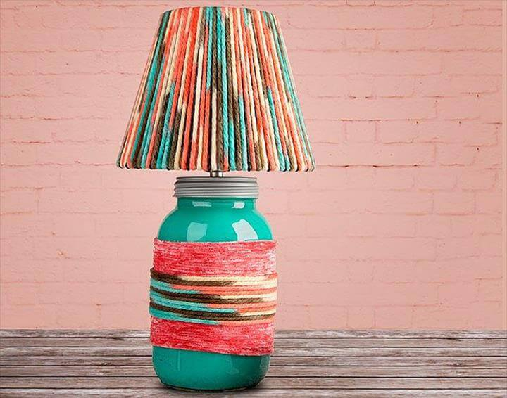 Yarn-Wrapped Lamp Shade