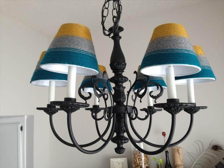 yarn chandelier diy